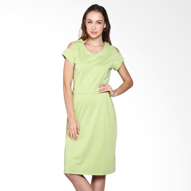 Carte Shoulder Cut Dress - Green