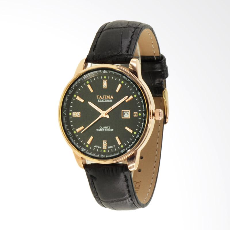 Tajima Analog Watch Date 3097 Leather Date Jam Tangan Pria - Hitam GA 03
