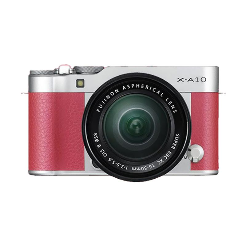 Fujifilm X-A10 Kit 16-50mm OIS II Kamera Mirrorless - Pink + Free SDHC 16GB Class 10