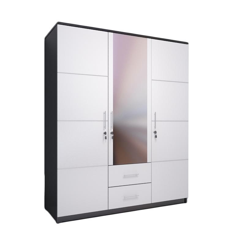 Ben Furniture Lemari Pakaian - White [3 Pintu]