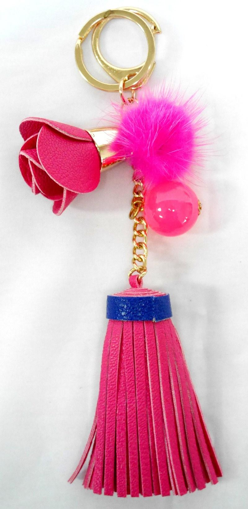 SIV Leather Keychain Bunga 01 Gantungan Kunci - Pink [KB04]