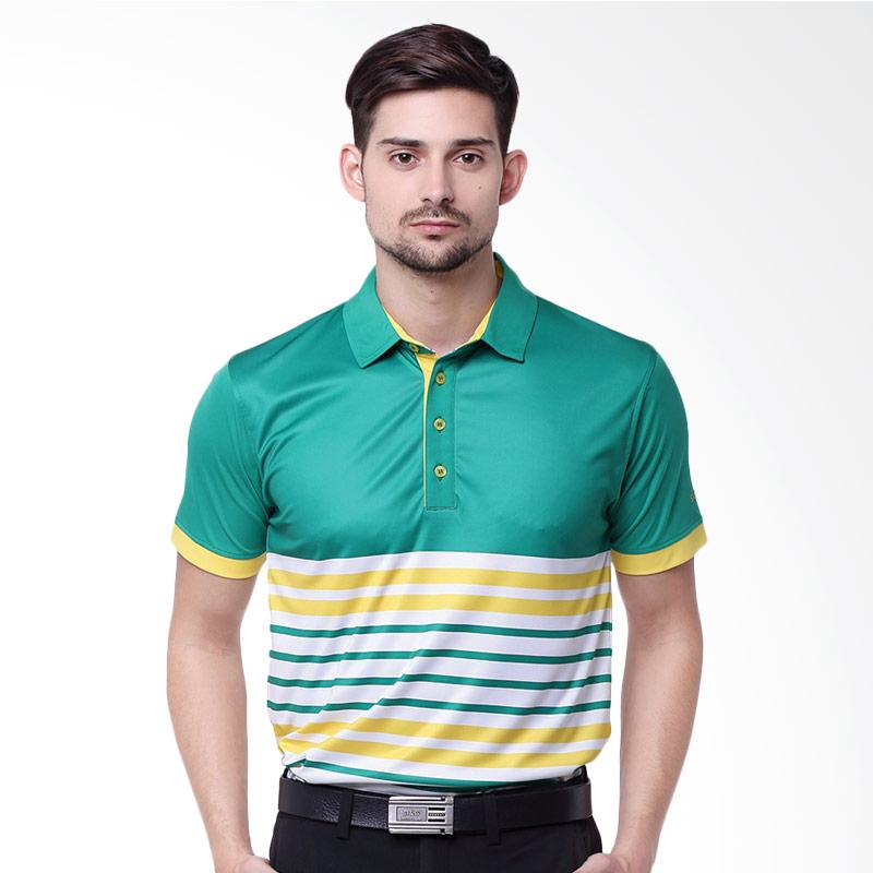 Svingolf Distilled Polo Baju Golf - Tree Green Sunflower