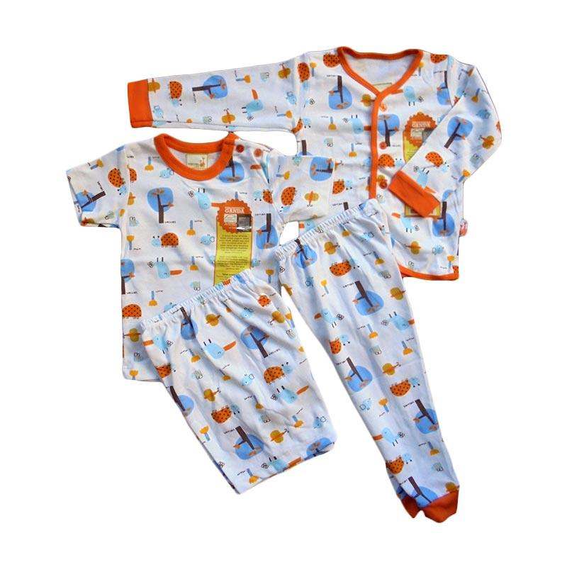 Velvet Junior Motif Tucano Piyama Lengan Panjang dan Pendek Set Setelan Baju Tidur Anak - Orange