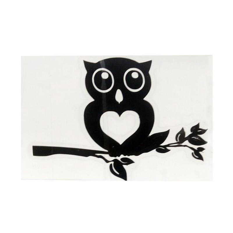 OEM Motif Burung Owl on Branch Dekorasi Tombol Lampu Saklar Wall Sticker - Hitam