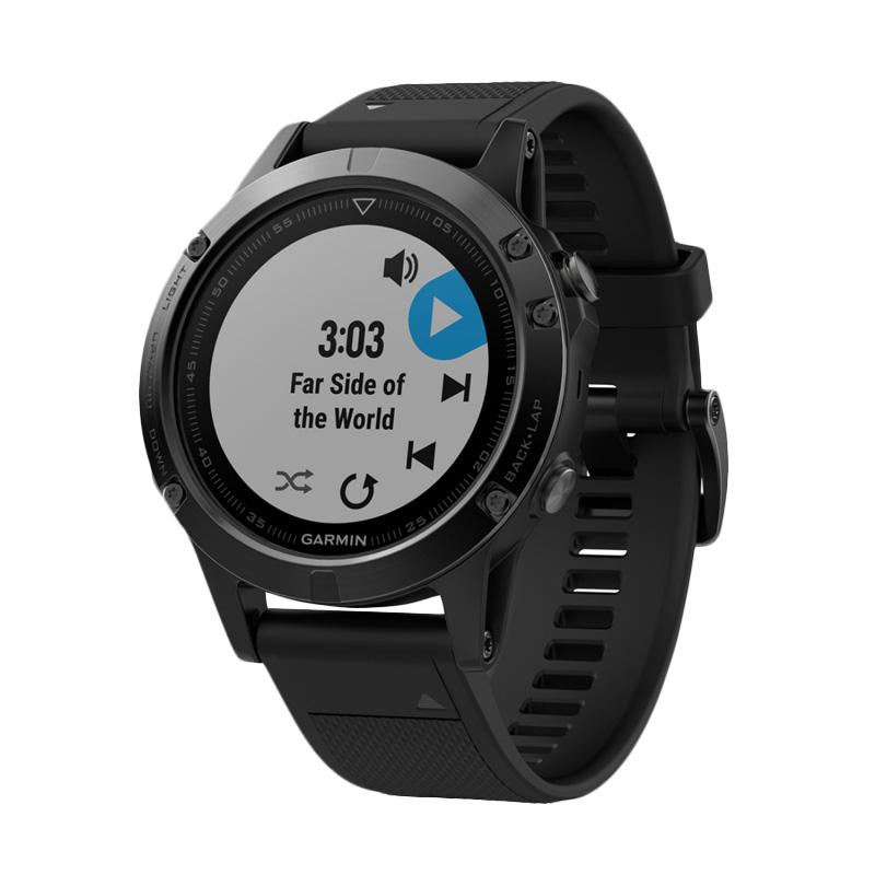 harga Garmin Fenix 5 Sapphire Black GPS Watch SEA Free Garmin T-Shirt Blibli.com