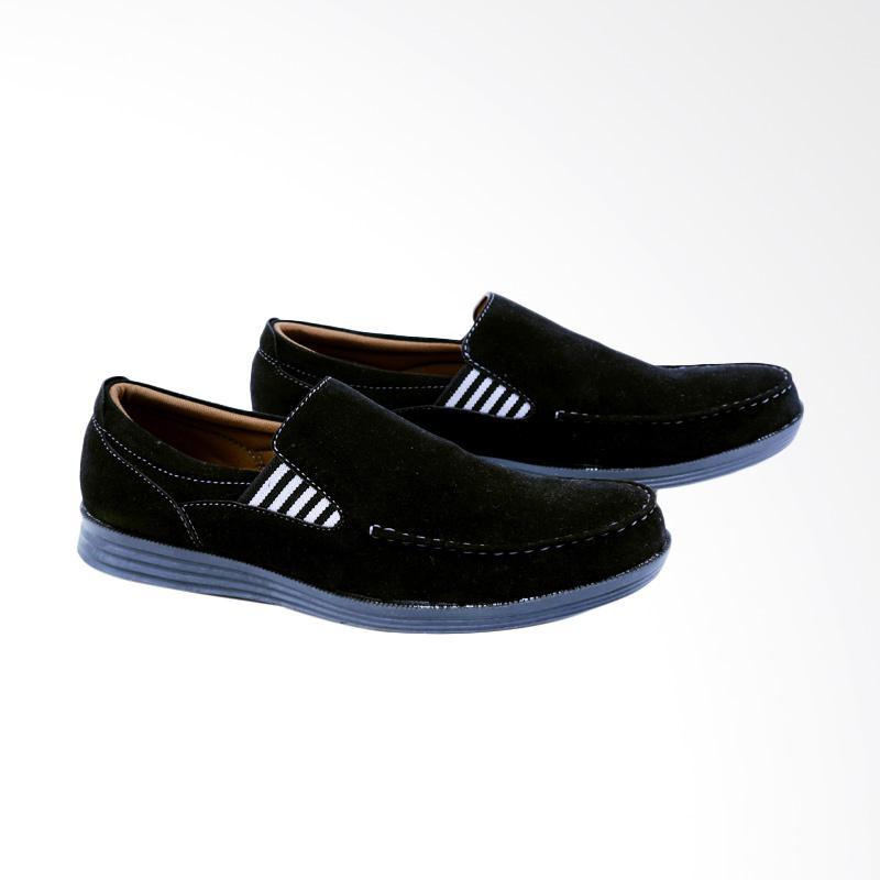 Garsel Sepatu Slip On Kasual Pria - Hitam GRF 1609