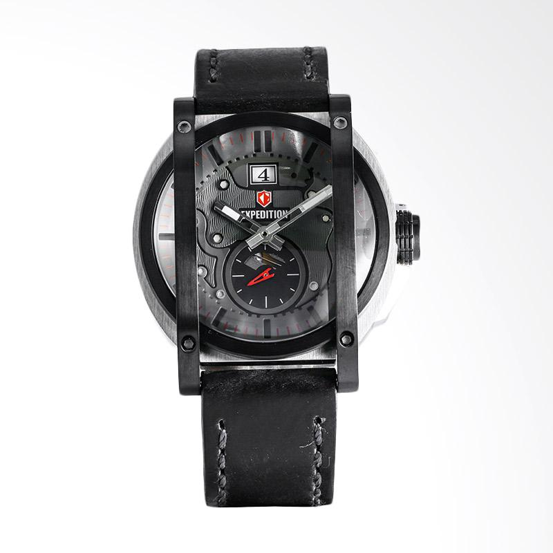 Expedition EXF-6725-MSLTBBA Man Gray Dial Stainless Steel Case Leather Strap Jam Tangan Pria - Black