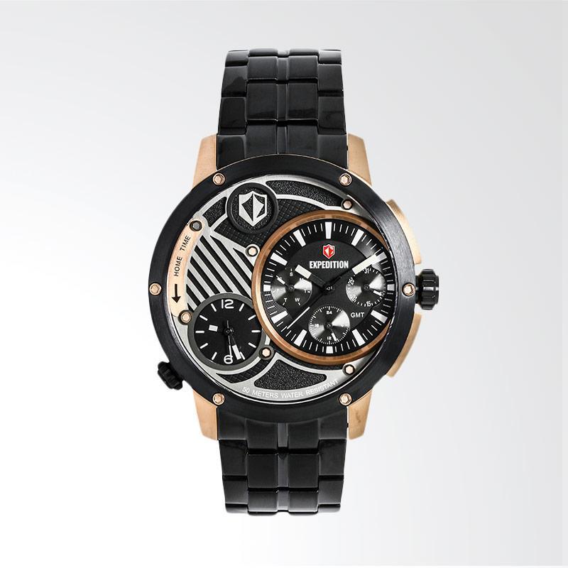 Expedition Man Multifunction Black Dial Stainless Steel Jam Tangan Pria - Black EXF-6736-MTBBRBA