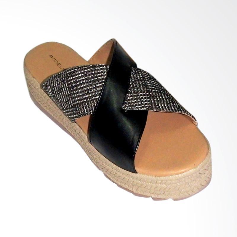 Anneliese Salma X Sandal Wedges Wanita - Black
