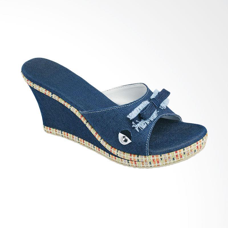 Syaqinah 302 Sandal Wedges Wanita Biru .