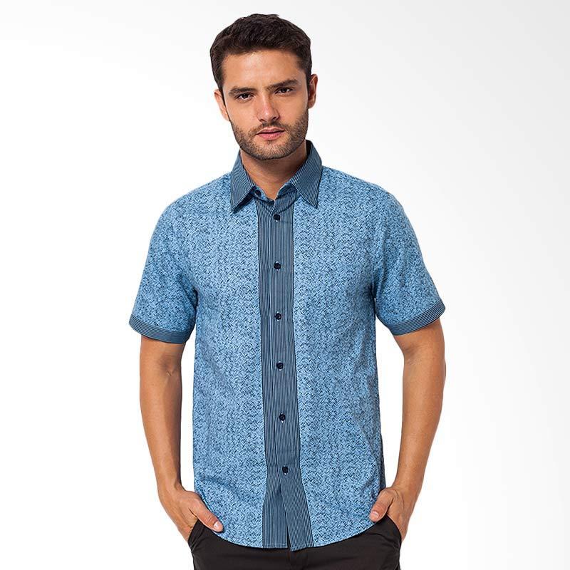 A&D Fashion Mens Shirt Short Sleeve Kemeja Pria - Blue [MS 712]