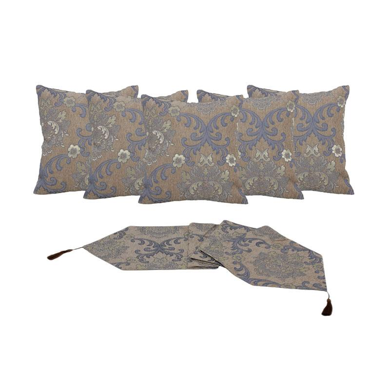 Tren-D-home Chenille Jacquard Aksen Dekorative Sarung Bantal Sofa [40 x 40 cm/5 pcs] + Runner Taplak Meja [33 x 150 cm] - Biru