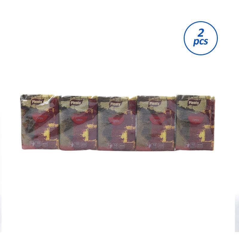 PLENTY PLHK-002 Compact Handkerchief Premium Tissue [10 pcs/ 2 pack/ 3 ply]