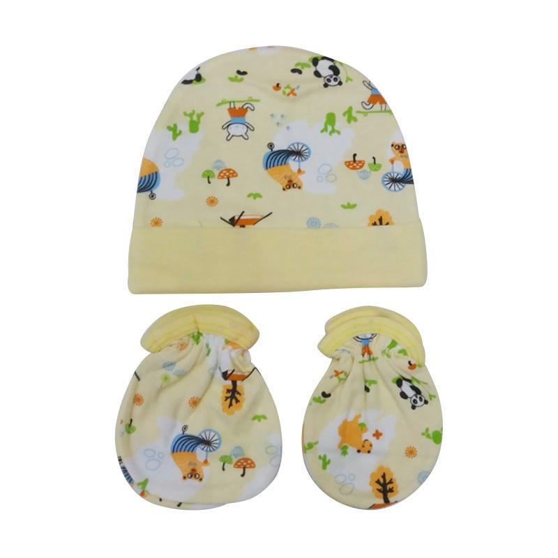 Mamimu Panda Set Topi Sarung Tangan & Kaos Kaki Bayi - Kuning