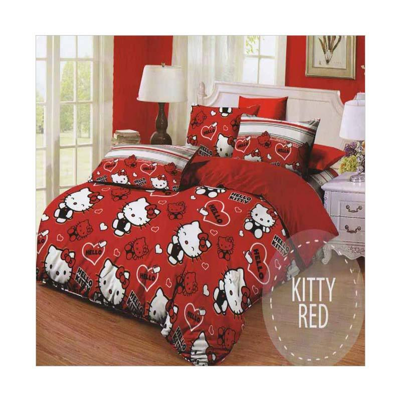 Harga Rosewell Microtex Kitty Red Set Sprei dan Bed Cover Di Online Store