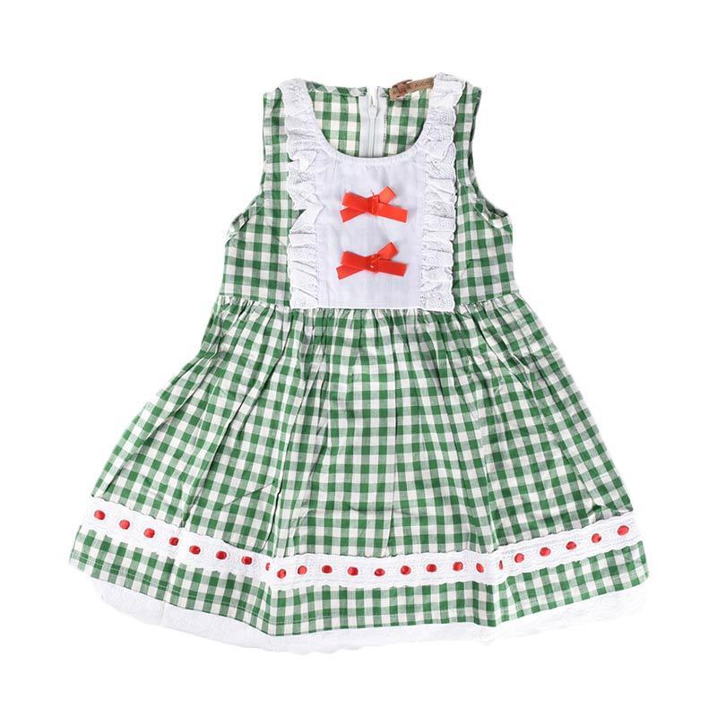 Cabriole 102 Adel & Audrey Dress Anak - Polka Green