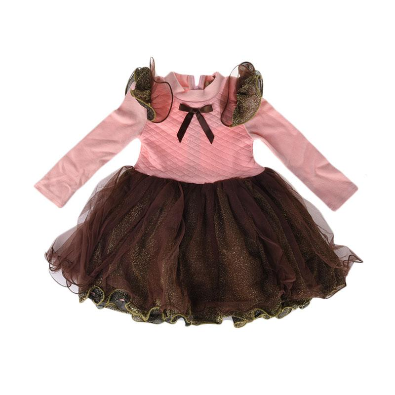 Cabriole 090 Adel & Audrey Dress Anak - Pink Brown