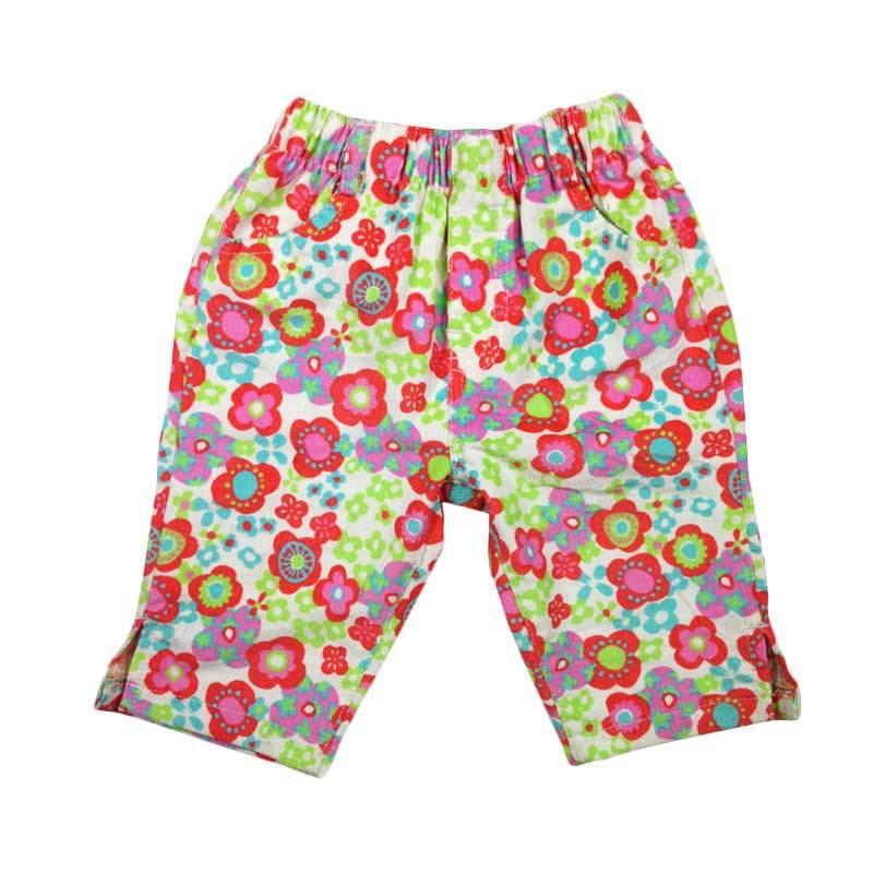 Celana Capri Wanita Motif Cetak Kotak-Kotak Coretan Kartun Warna Warni Trendi (Khaki kotak