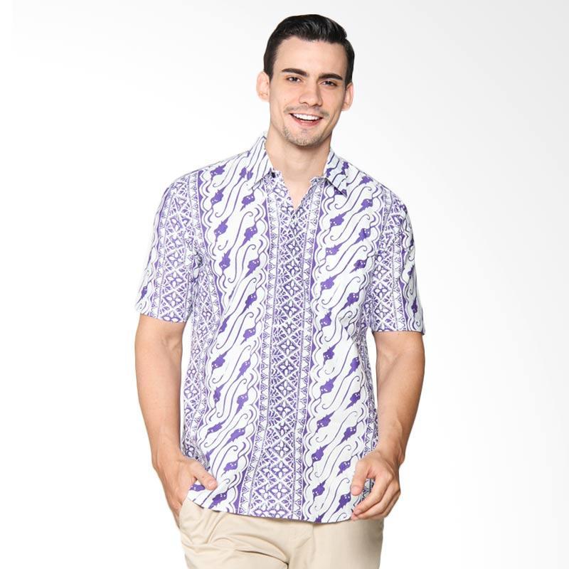 Blitique Asana Parang Slim Fit Kemeja Batik Pria - Purple 1B