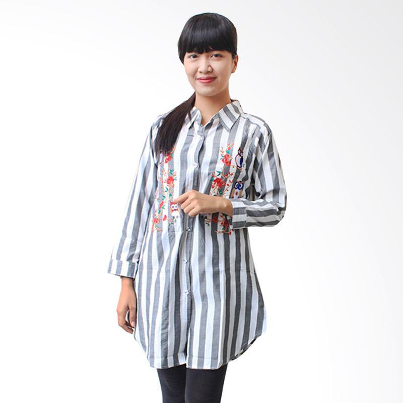 Aily K6834 Tunik Wanita Stripe Chic Blouse - Abu abu
