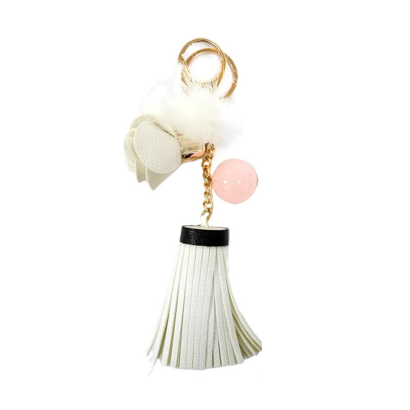 SIV Bunga 01 Leather Kulit Keychain Gantungan Kunci - White [KB06]