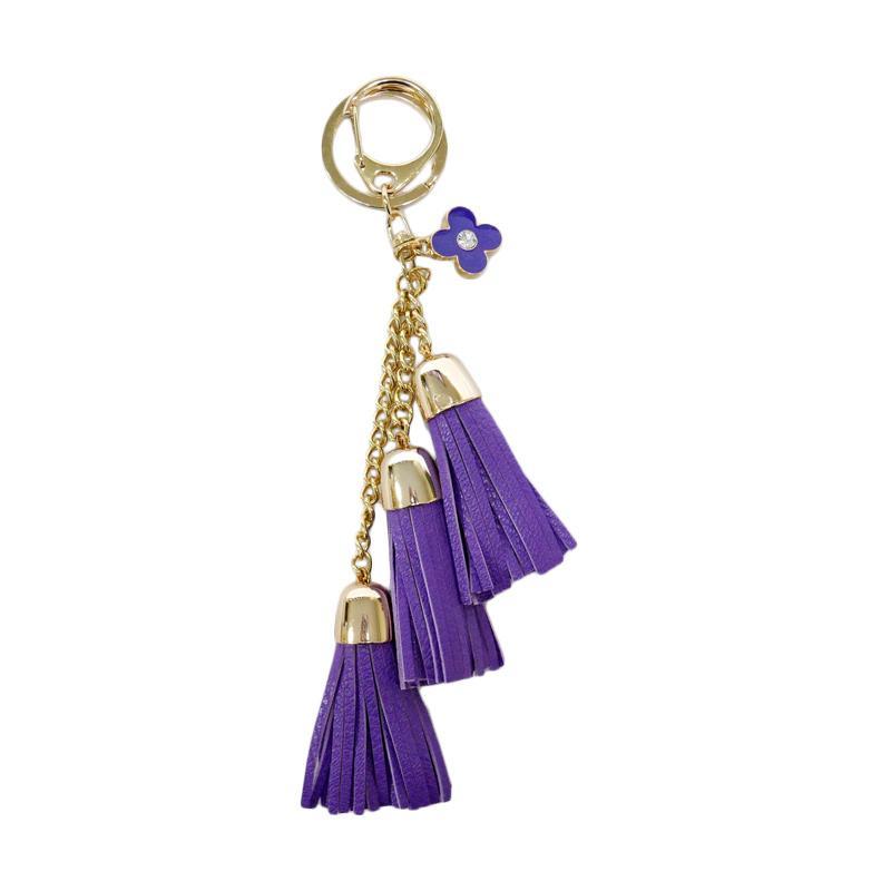 SIV Key Chain KM01 Rumbai 3 Tingkat plus Bunga Gantungan Kunci - Purple