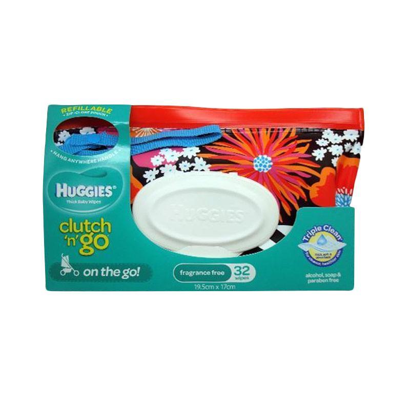 harga Huggies Clutch n' Go Fragrance Free 32 Wipes - Chevron Flowers Blibli.com