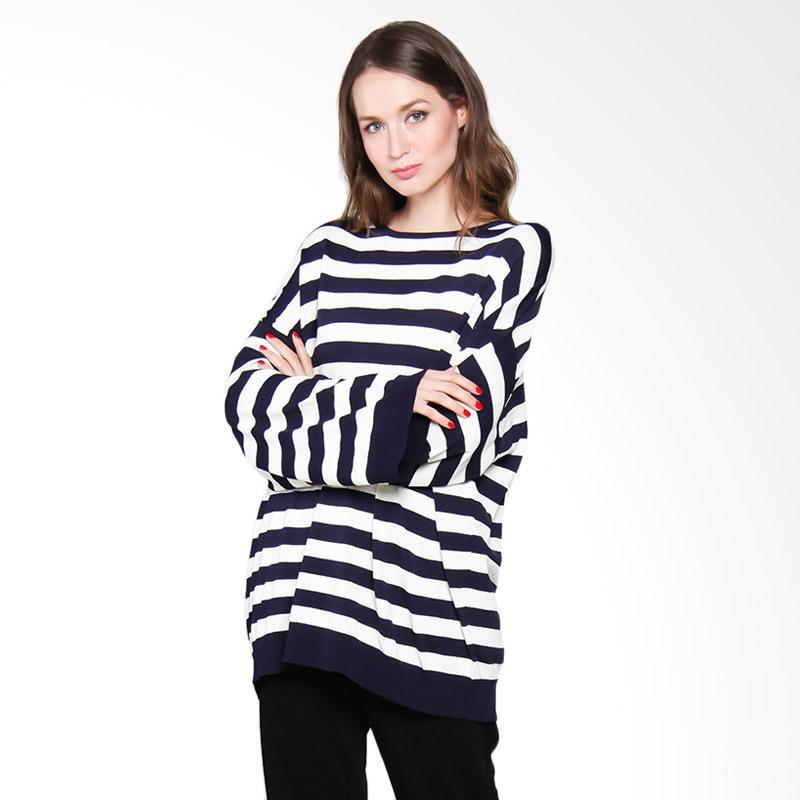 Papercut Fashion GZ Ly Studio 6602 Oversize Long Sleeve Stripe Atasan Wanita - Blue White