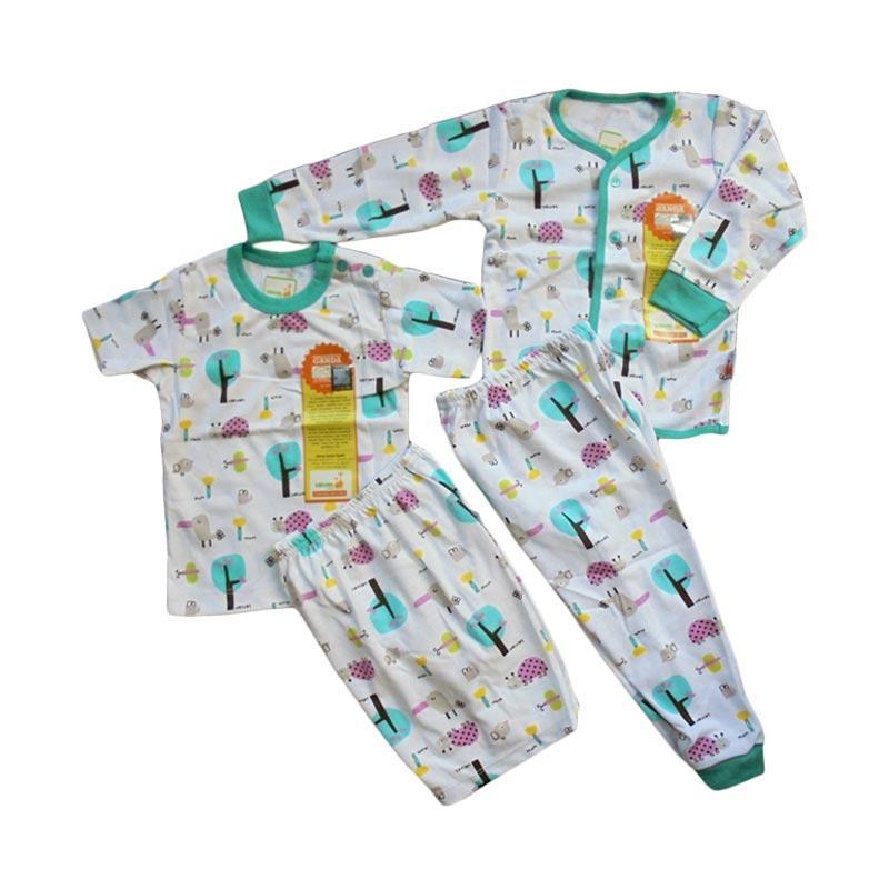 Velvet Junior Motif Tucano Piyama Lengan Panjang dan Pendek Paket Setelan Baju Tidur Anak - Tosca