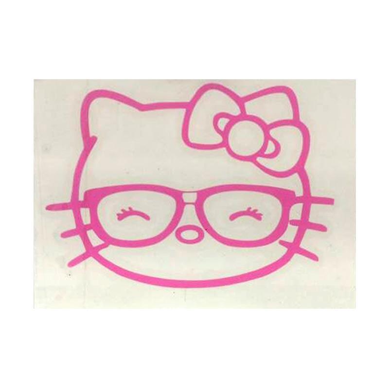 OEM Motif Hello Kitty Kacamata Dekorasi Tombol Lampu Saklar Wall Sticker - Pink