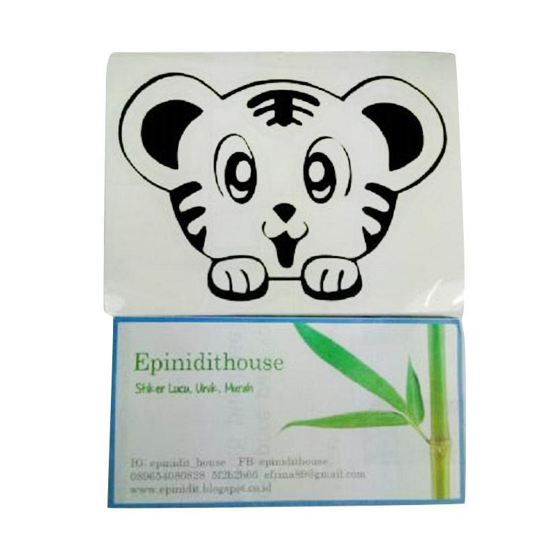 OEM Motif Simba Tiger Lucu Dekorasi Tombol Lampu Saklar Wall Sticker - Hitam