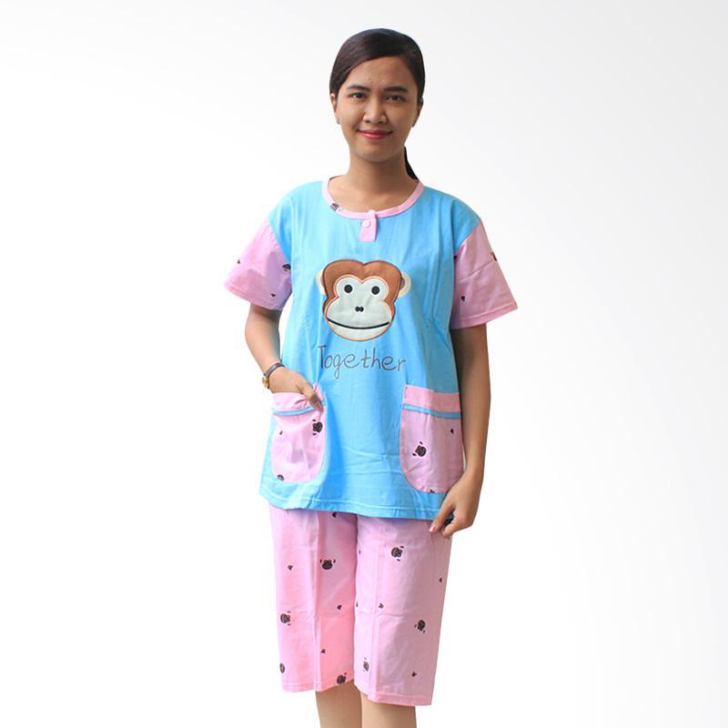 Aily Monkey 513 Setelan Baju Tidur Wanita - Biru