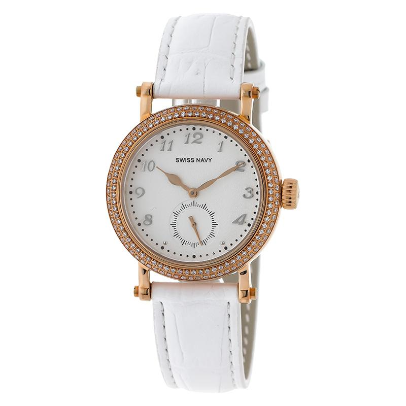 SWISS NAVY 8588LRGWH Woman White Dial White Leather Strap