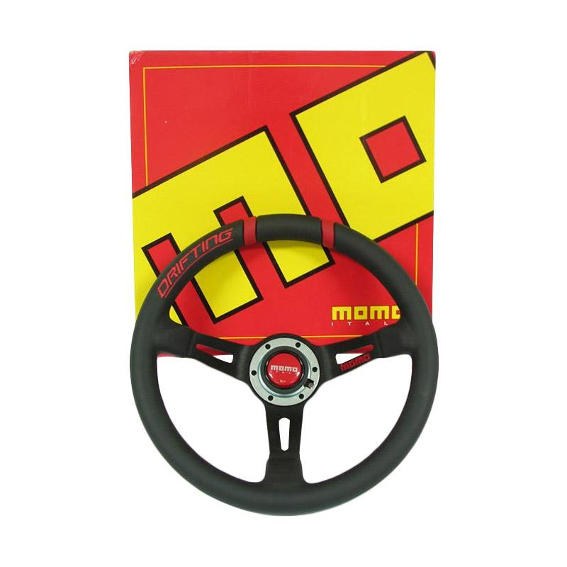 Momo Drifting Setir Mobil Series Racing Steering Wheel Drifting [330 mm Black with Red Stitch]