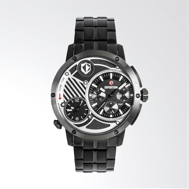 Expedition Man Multifunction Black Dial Stainless Steel Jam Tangan Pria - Black EXF-6736-MTBEPBA