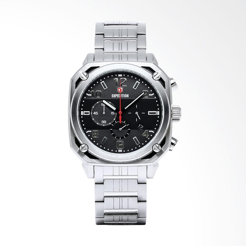 Expedition Man Chronograph Black Dial Stainless Steel Jam Tangan Pria - Silver EXF-6738-MCBSSBA