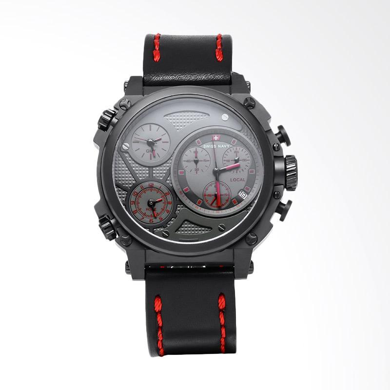 Swiss Navy Man Chronograph Leather Strap Jam Tangan Pria - Black 6824MABRDBK