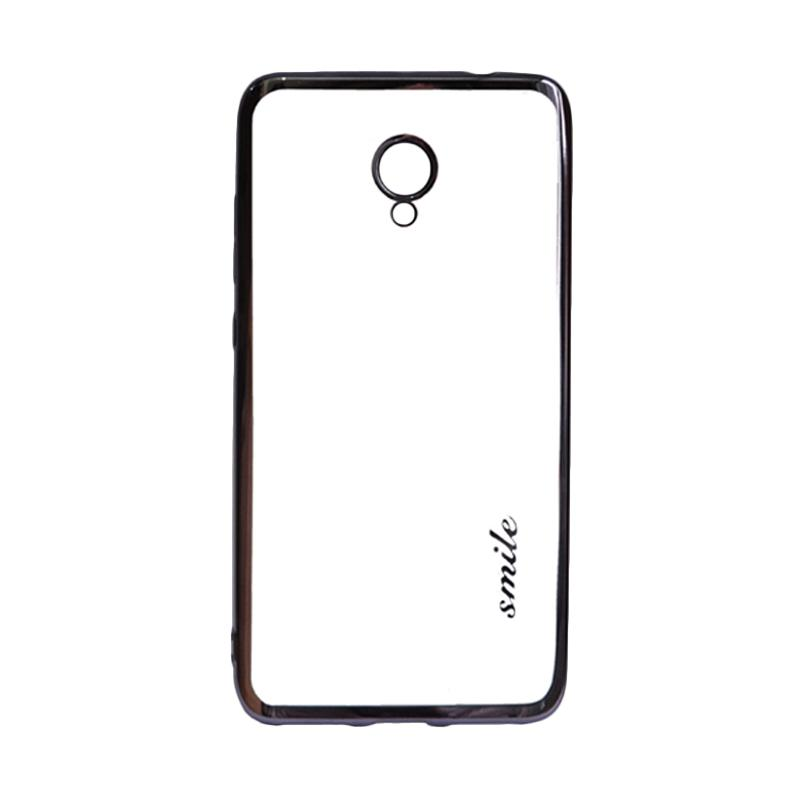 SMILE Ultrathin Shining List Chrome Softcase Casing for Meizu M5 Note - Black