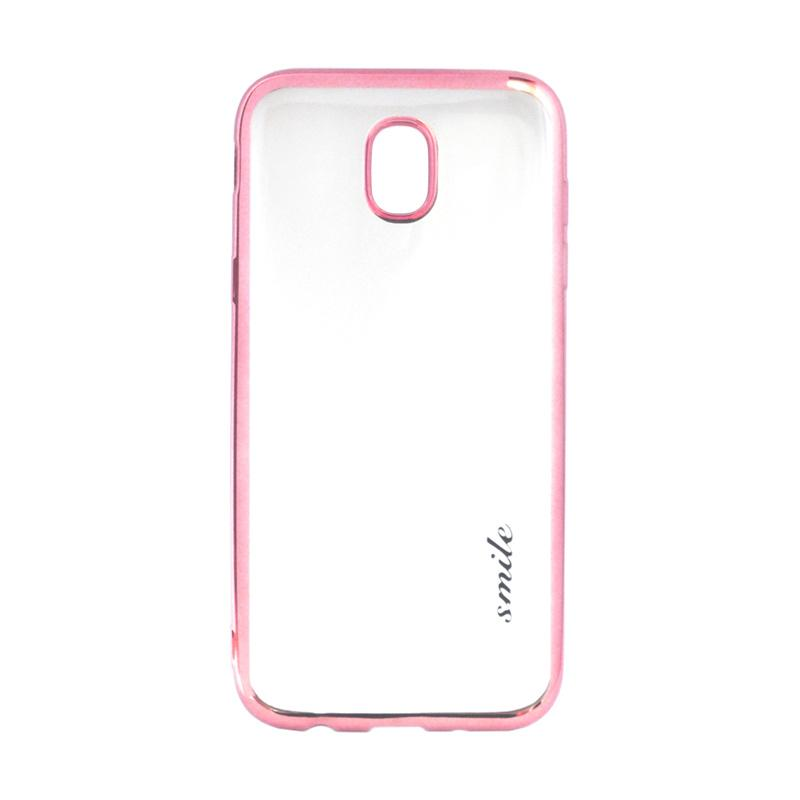 SMILE Ultrathin Shining List Chrome Softcase Casing for Samsung Galaxy J5 Pro - Rose Gold