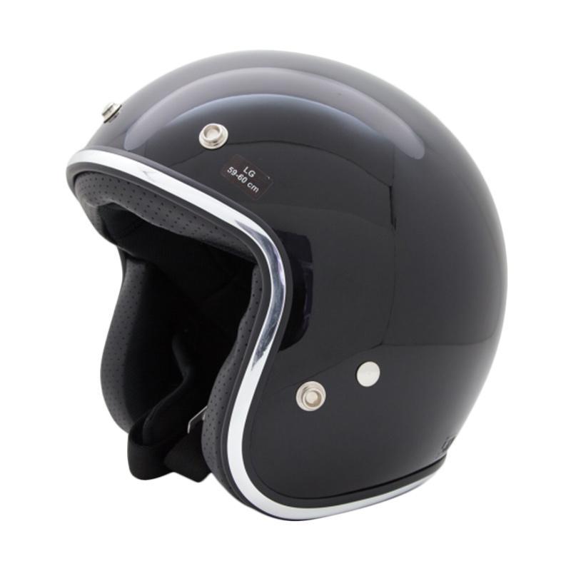 AGYO Helmet SS Black Padding Helm Half Face - Black Gloss