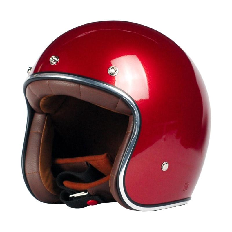 AGYO Helmet SS Candy Padding Helm Half Face - Red Gloss Dark Brown