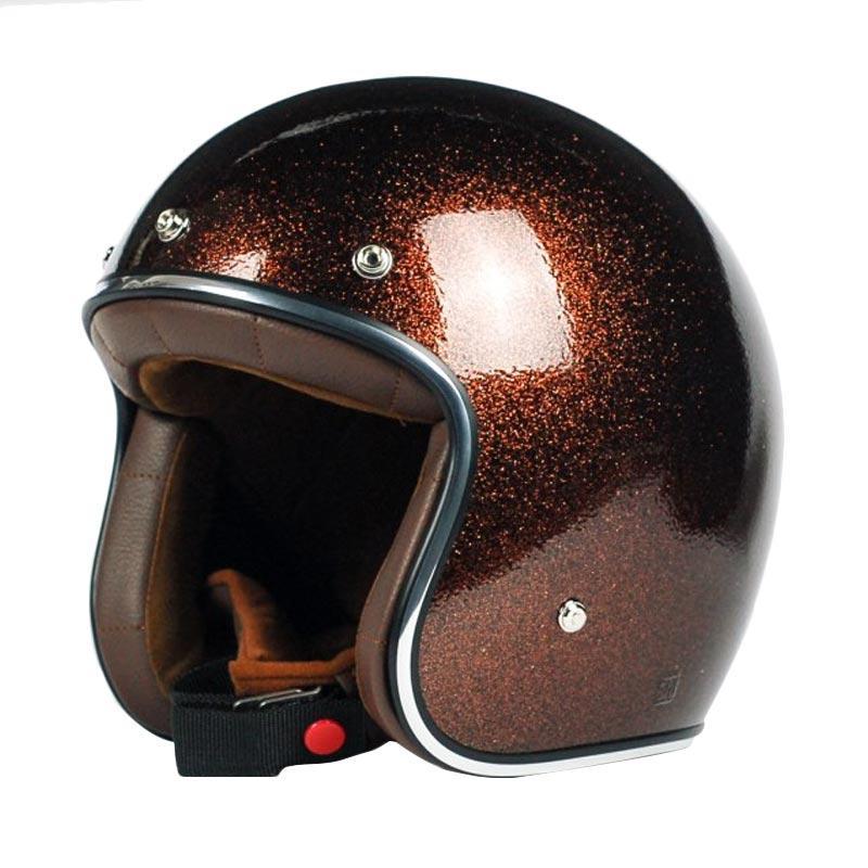 AGYO Helmet SS Cola Padding Helm Half Face - Brown Glitter Gloss Dark Brown