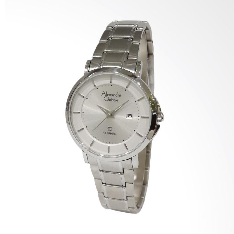 Alexandre Christie Sapphire Series 8545LDBSSSL Stainless Steel Bracelet Jam Tangan Wanita - Silver