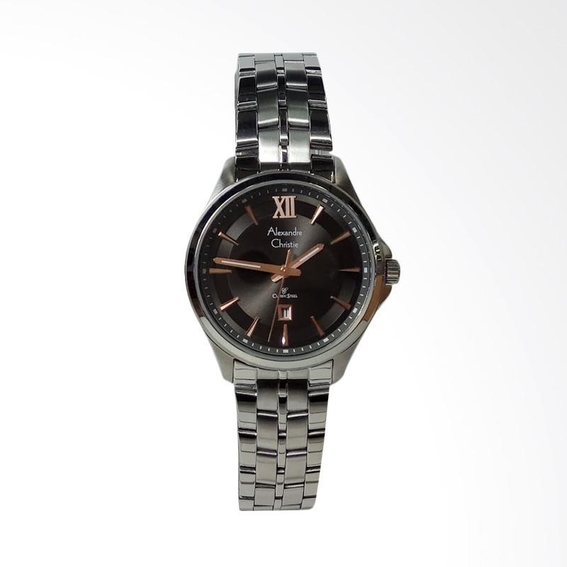 Alexandre Christie AC8530LD Classic Stainless Steel Dial Black Jam Tangan Wanita - Silver