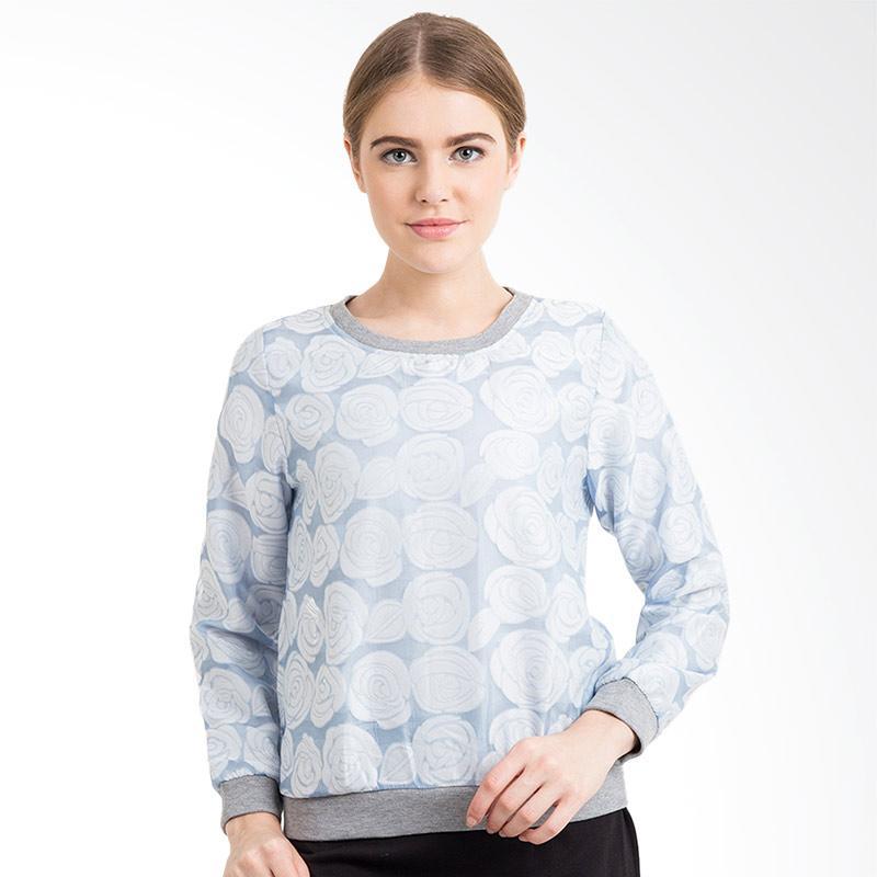 Minimal Rose Sweatshirt Wanita - Dusty Blue