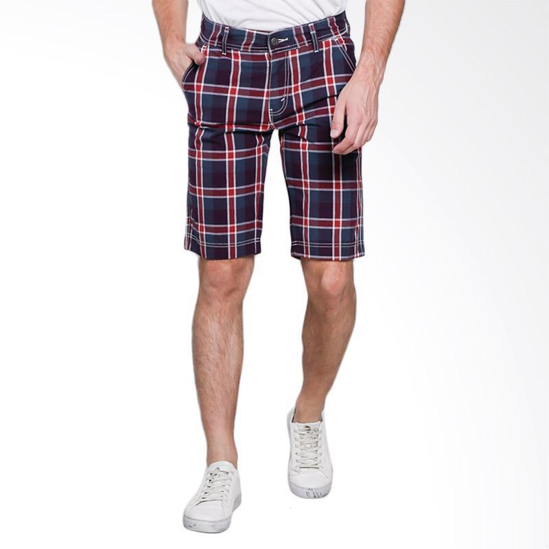 Spek Harga Lois Men Short Pants Denim Celana Pendek Pria - Red Plaid [277 R