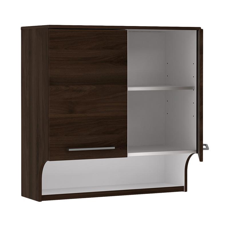 Jual Pro Design Oklava Kabinet Dinding Dapur With 2 Pintu Dan Tempat Penyimpanan Terbuka Brown Walnut Online Januari 2021 Blibli
