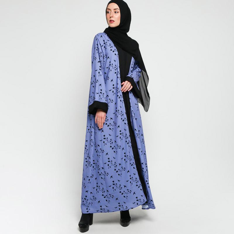 VIVI ZUBEDI Lakeisha Abaya Open Front With Flowery Pattern Cardigan Muslim Wanita Blue