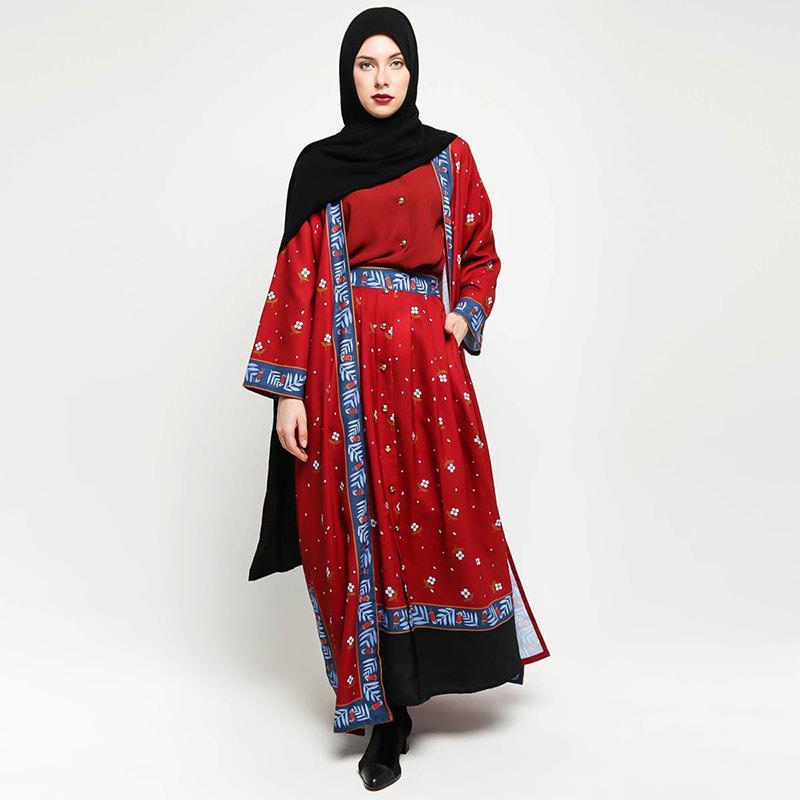 VIVI ZUBEDI Helma Abaya Outer Muslim Wanita Maroon