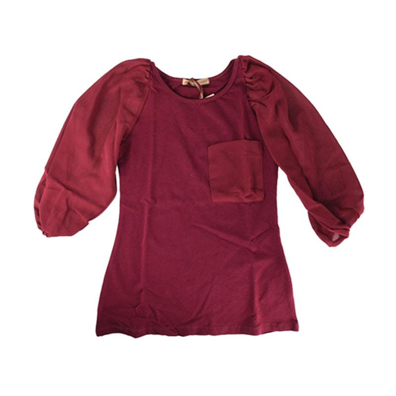 Cabriole 078- Adel & Audrey Long Sleeve Dress Anak - Maroon